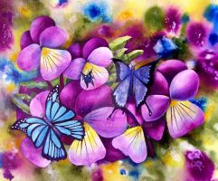 Pansies and Butterflies by artbyjolyn