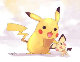 Pikachu and Pichu by Derlaine8