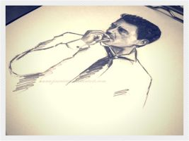 smoking man. robert downey jr by AnnaZinovieva