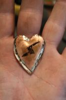 WIP - Copper heart pendant soldered before trimed by connerchristopher