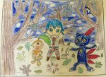 Nuzleaf, Sneasel and Kaito - Winter Forest by Puswi