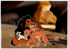 Scar and his cubs by DariusFairfall