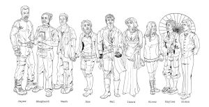 Firefly Crew Lineart by wiccawitch