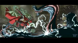 Kid Kthulu vs The Innsmouth 7 by tnperkins