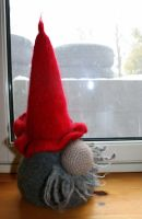 Felted wine holder ''nisse'' gnome by KnitLizzy