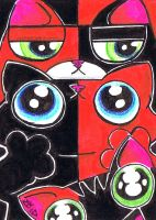 Funny cats red and black opposites by KingZoidLord