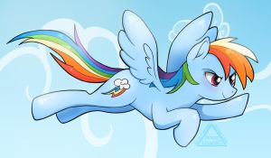 Flying Rainbow Dash (Line Work Available!) by SleepyHeadKL