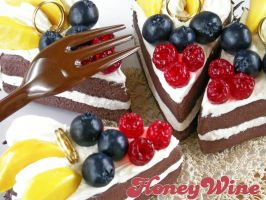 Chocolate and fruits cake memostand by rriee