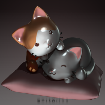 3d kittens by merkerinn