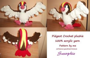 Pidgeot crochet plushie by Sasophie
