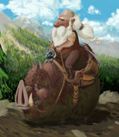 Dwarf on a warthog by Monomus