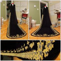 Esther Velvet cape with gold embroidery by shushuwafflez