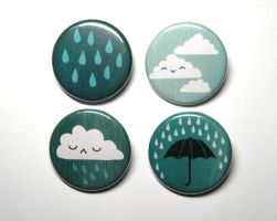 rainy day button pack by michellescribbles