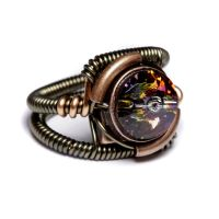 Steampunk volcano crystal ring by CatherinetteRings