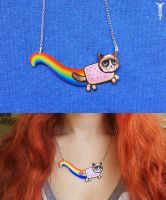 Grumpy Nyan Cat Necklace by TrollGirl