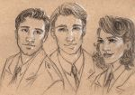 Sergeant Barnes,Captain Rogers, Agent Carter by oboe-wan