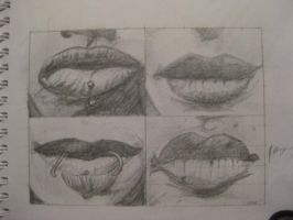 Lips drawing by Zibarian