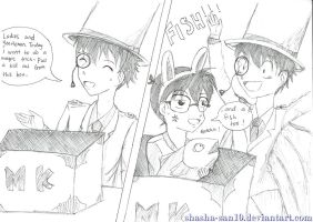Kaito Kid's Magic: Conan and Fish by shasha-san10