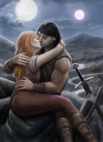Arawn and Cerridwen Kissing by dashinvaine