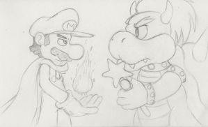 Cape Mario and Bowser by MegaManPoweredUp