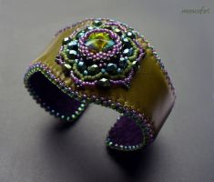 Lotus flower leather cuff by moonsafaribeads