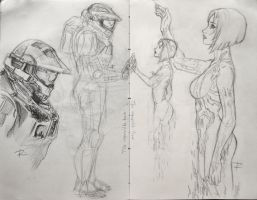 John and Cortana Sketch by ReneFelem