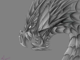 Puzzle and Dragons: Vritra GRAYSCALE by MagicallyCapricious