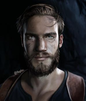 PewDiePie as Nathan Drake - portrait (Uncharted 4) by Shuploc