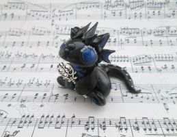 Black and Blue Key Keeper Dragon by KriannaCrafts