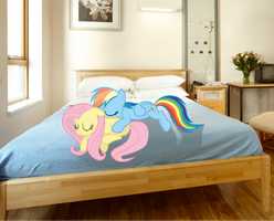 Fluttershy and RBD bed by Pangbot