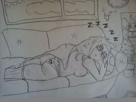 Sleeping Nerd (pencils) by DinomanInc