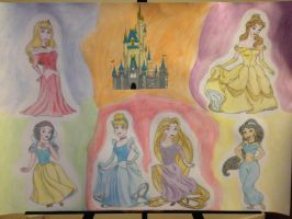 Disney castle and princesses (drawing) by ChewyNicky