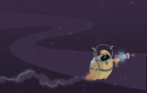 Space Pug by CourtneyBowen
