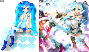 2012 vs 2014 Miku by Lapia