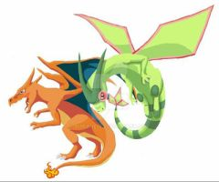 Charizard and Flygon by Aireane01