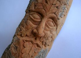 Cottonwood Bark Green Man by Lolair