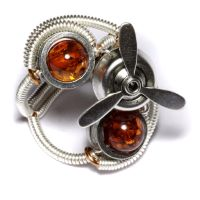 Propeller Amber Steampunk Ring by CatherinetteRings