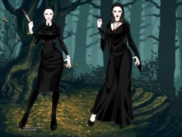 Morticia And Wednesday Addams by adrianaTheGirlOnFire