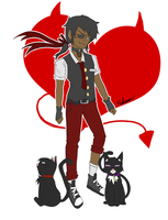 Victor and his cats by Sniper-Huntress