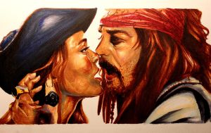 Jack Sparrow and Elizabeth Swann by razamataz20