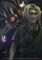 Majora's Mask Link and The Skull Kid by waLek05