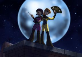 Commission for Rassilon001: April and Irma Ninjas! by BrushBell