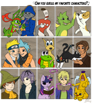Can You guess my favorite characters? by Bluefirewings