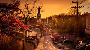 Warm Sunset in a little nice Village in USA. by DownloadPresets