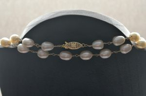 Gold-filled wire wrapped freshwater pearl necklace by lamorth-the-seeker