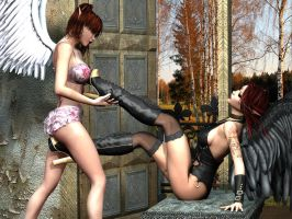 Playing with Plateau High Heel Boots 001A by Evinessa
