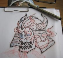 skull sketch by grinderbird