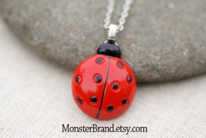 Red Ladybug Necklace by MonsterBrandCrafts
