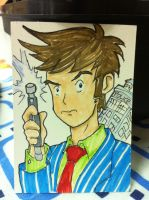 10th Doctor Sketch Card by KnoppGraphics