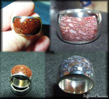 Gem Dinosaur Bone Inlay Rings by jessa1155